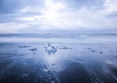 Les glaces sur la plage du Jökulsárlón